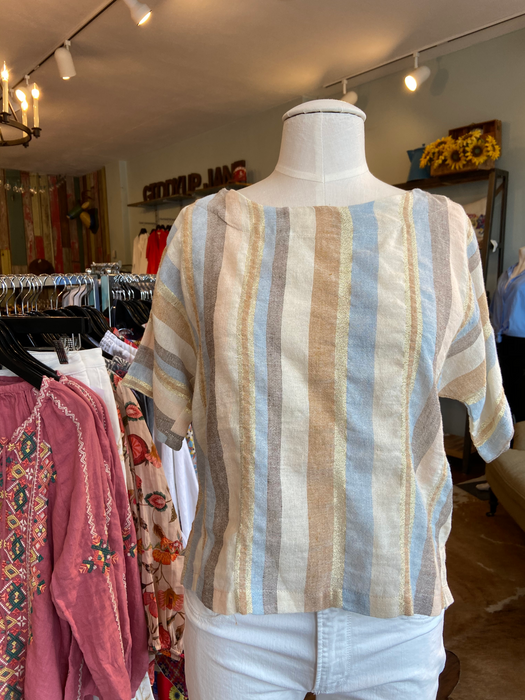Striped Linen Top by Suzy D.