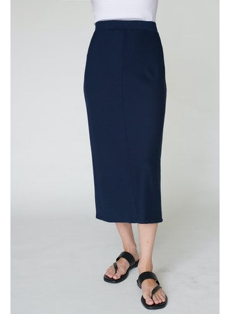 Navy Rib Chevron Skirt