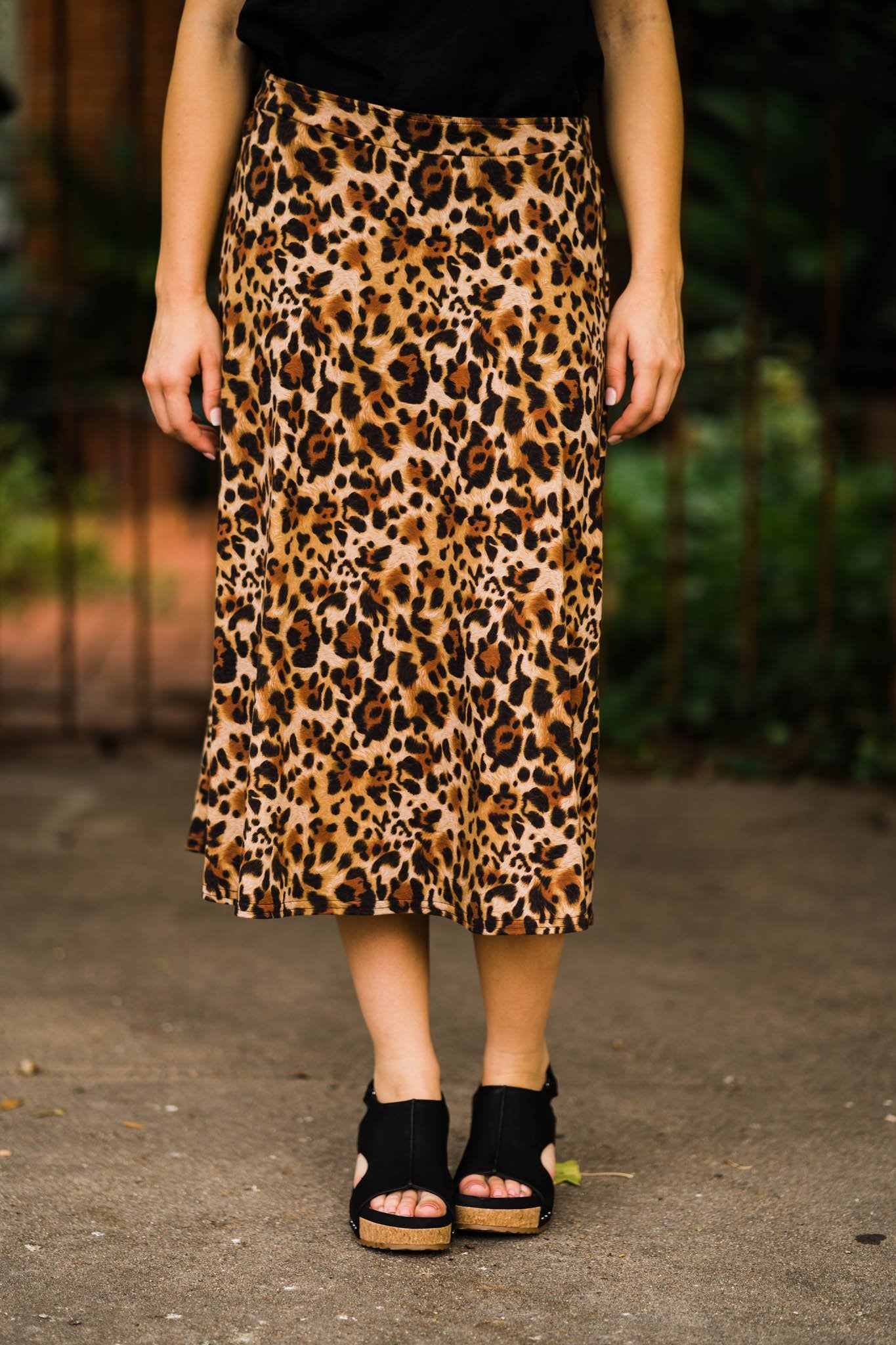 Leopard Everywhere Midi Skirt by Ivy Jane