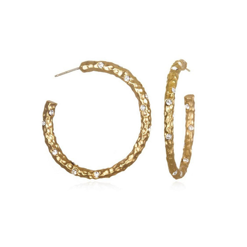 Gold 1.5 Pavia Hammered Hoops w/crystals