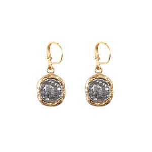 Gold Pavia Coin & Frame Dangle Earrings