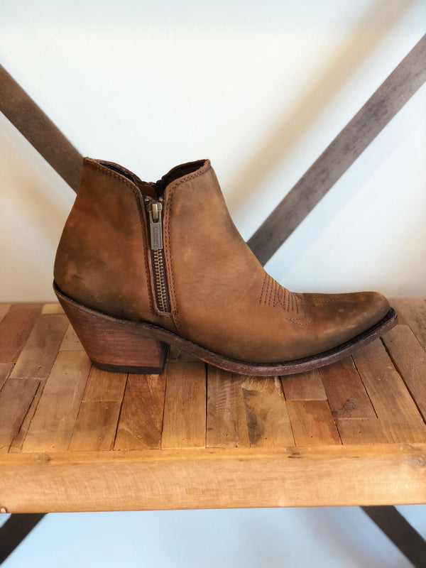 Cowboy Double Zip Bootie by Liberty Black - Weathered light brown