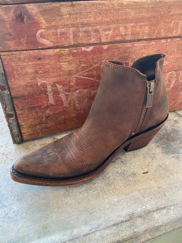 Cowboy Double Zip Bootie in Dark Brown by Liberty Black