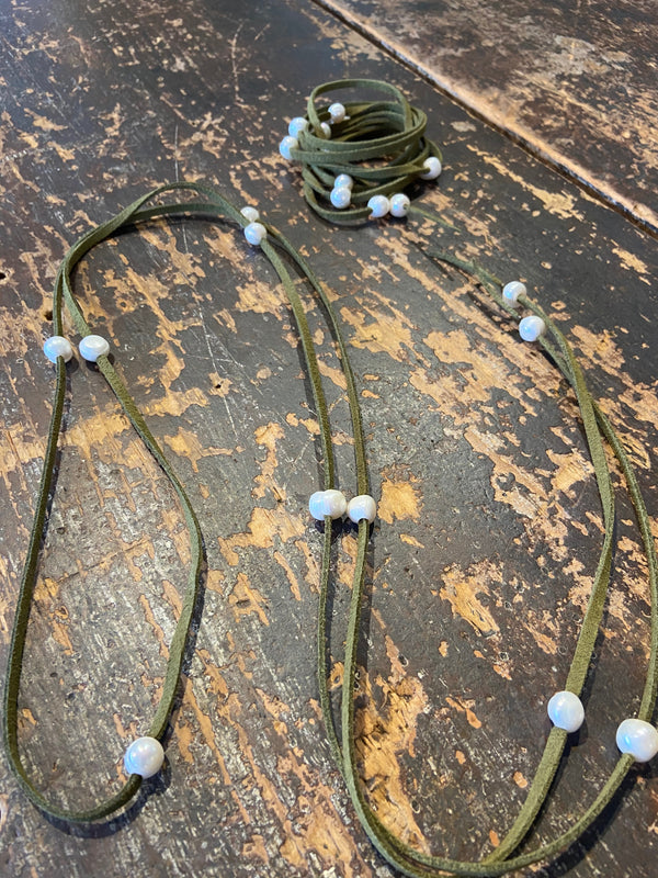 Pearl and Suede Lariats