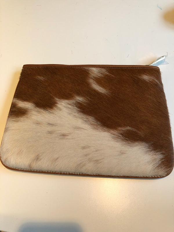 Tan/White Hair on Hide leather clutch by Gigi New York