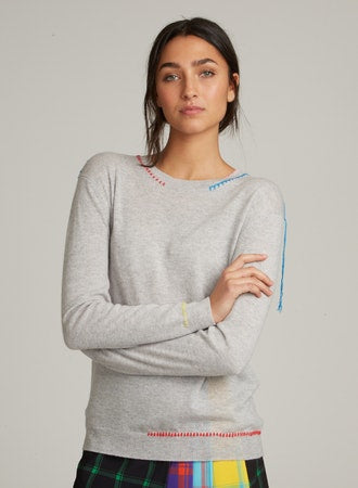 Whipstitch Cashmere Sweater in Fog