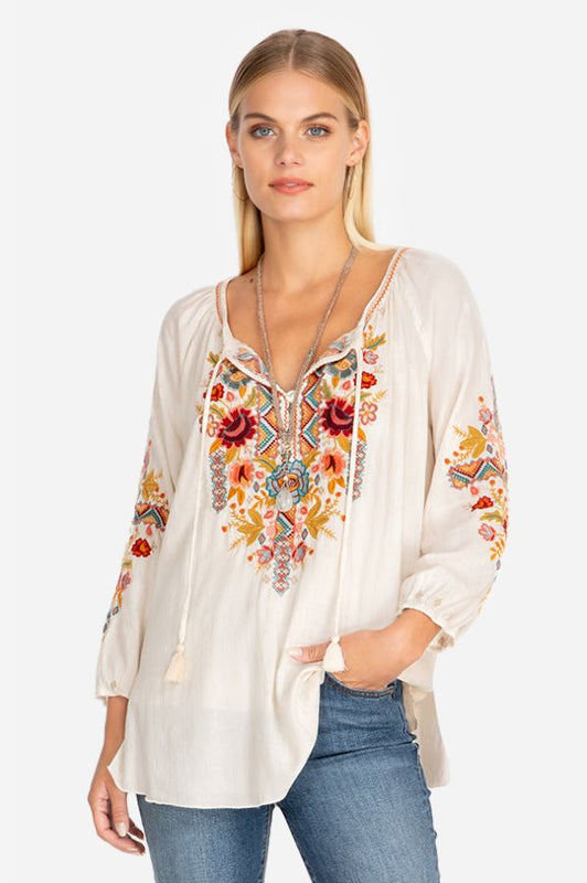 Clansy Peasant Blouse by Johnny Was