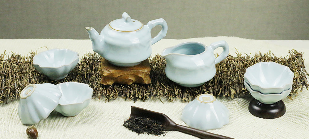 Ru Kiln Sky Blue Petal Shaped Tea Set