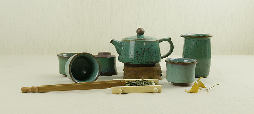 Jun Kiln Turquoise Brandreth Shape Tea Set