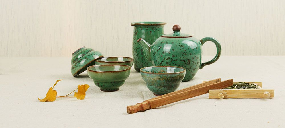 Jun Kiln Peacock Green Mei Ren Jian (Beauty Shoulder) Tea Set