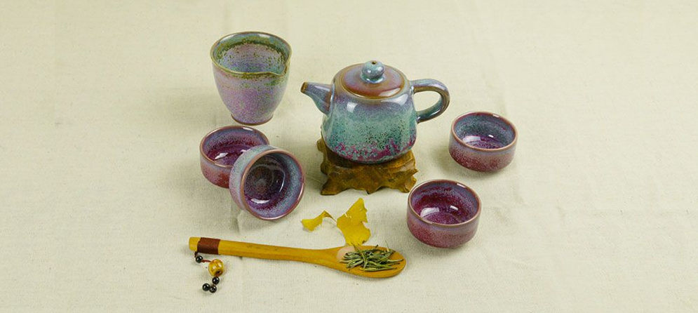Jun Kiln Purple Flambed - Si Fang Pot