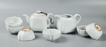 Moon White Ru Ware 8-piece Tea Set - Si Fang Pot