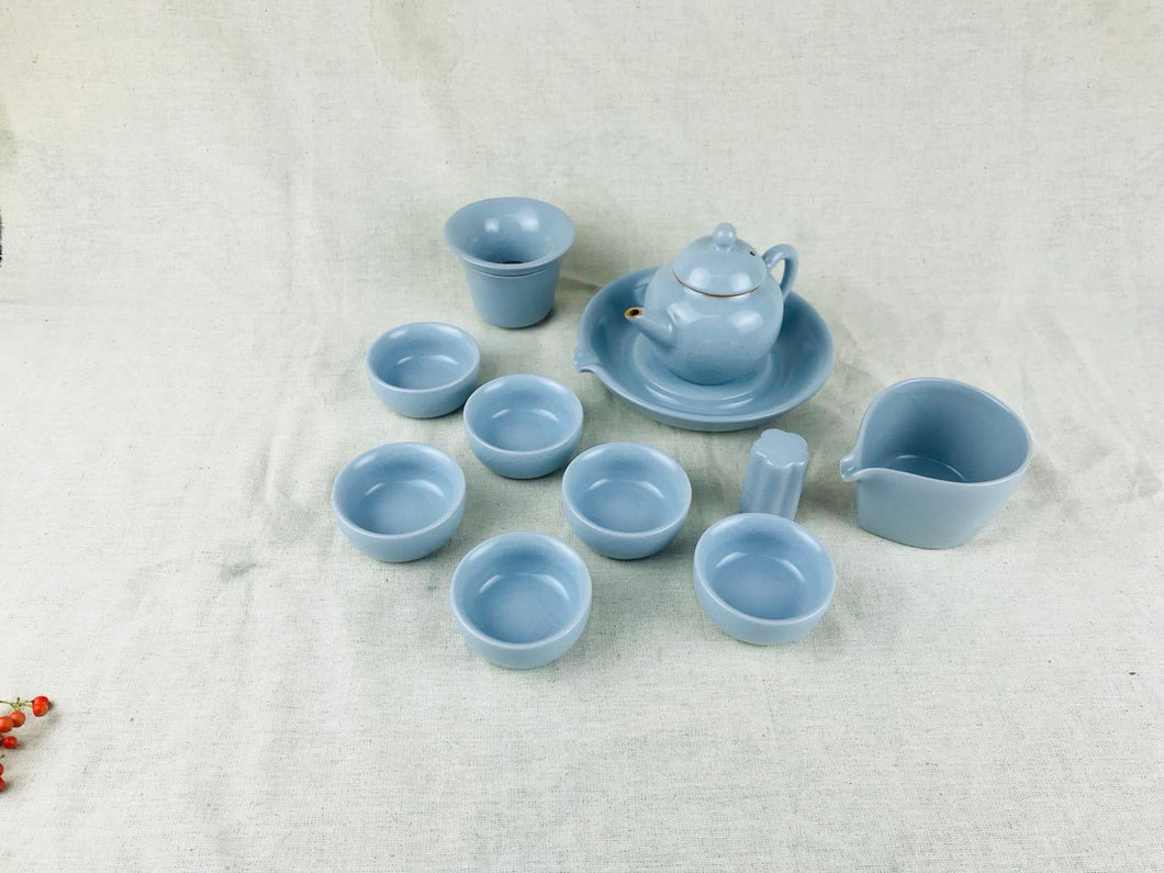 Ru Kiln 10-piece Tea Set - Zhi Ding Shui Ping Pot