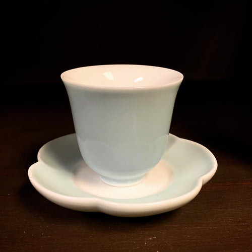 Sky Blue Celadon Blossom Teacup Cup and Saucer