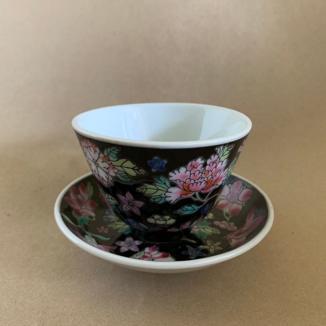 Vintage Black 'Wan Hua' 60ml Teacup and Saucer