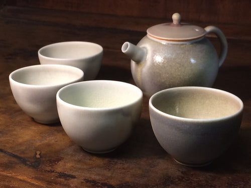 Handmade Soda-GlaZed Teapot and Cups