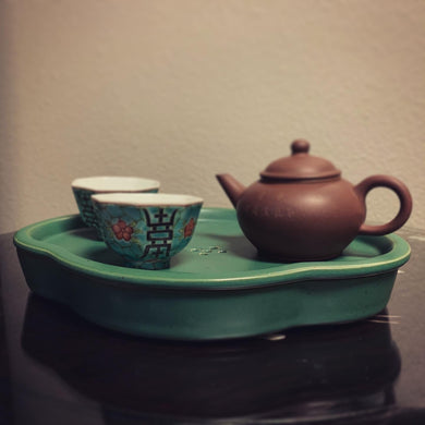 Green Glaze Ceramic Tea Boat