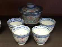 Vintage-style Linglong 玲珑 Rice Pattern Gaiwan and Cups