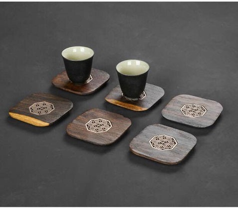 Wood Coaster with Lattice inset (set of 6)