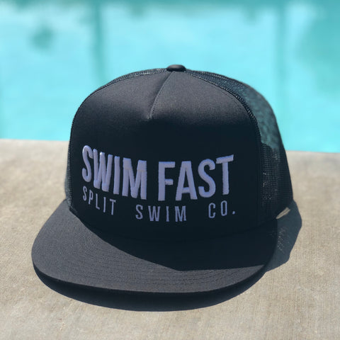 SWIM FAST - Black Mesh Trucker's Hat