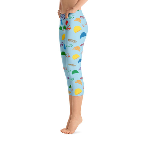 Caps and Goggles Capri Leggings - Blue