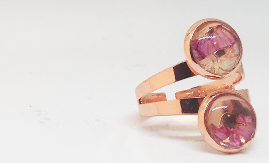 Stacked Rose Copper Ring