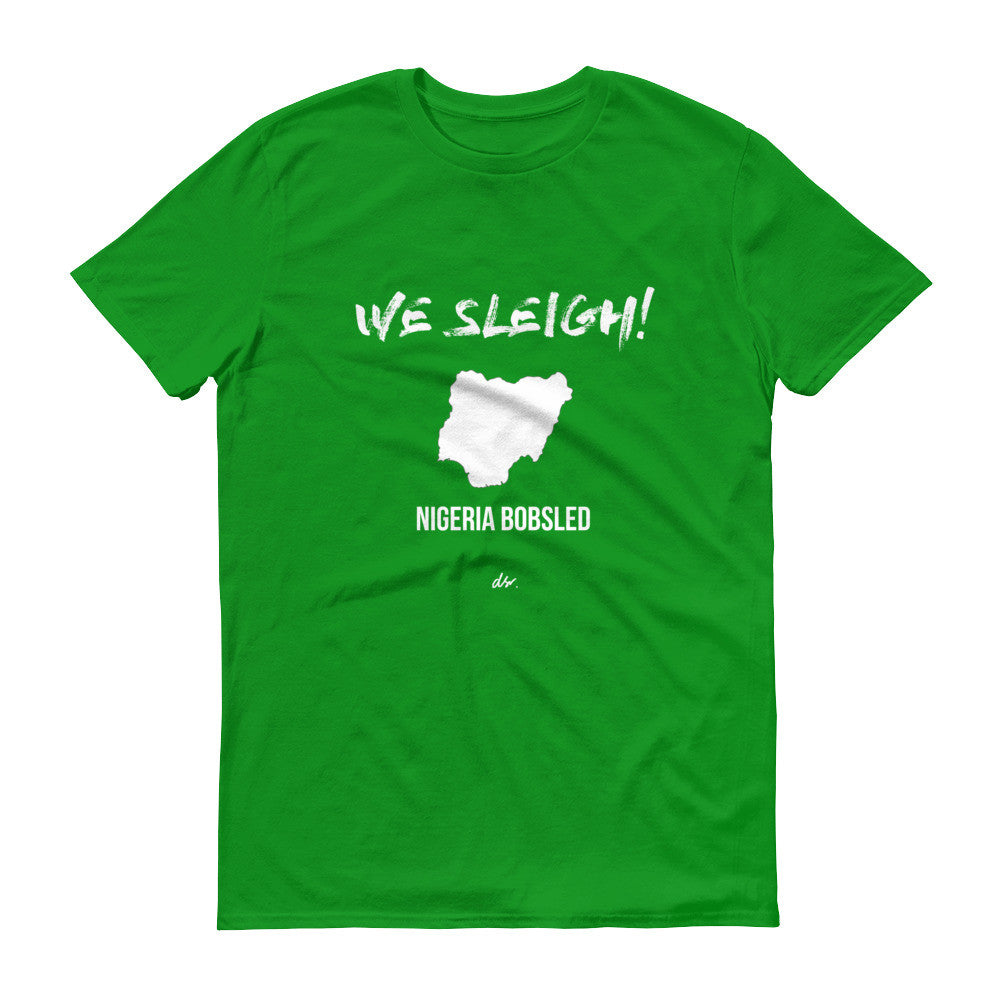 """WE SLEIGH"" BOBSLED Short sleeve t-shirt (unisex) green"