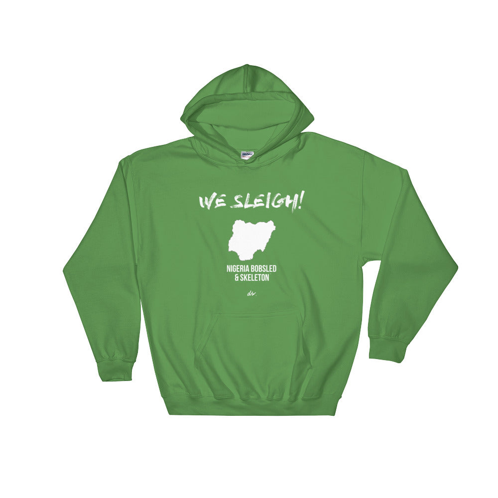 """WE SLEIGH"" NGR Bobsled and Skeleton Hooded Sweatshirt (unisex) green"