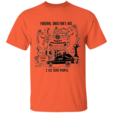 Funeral Director's Kid Halloween Youth Orange Tee