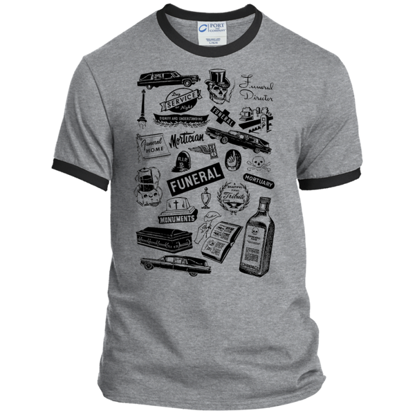 Mortuary Wares Ringer Tee (hearse-black ink)