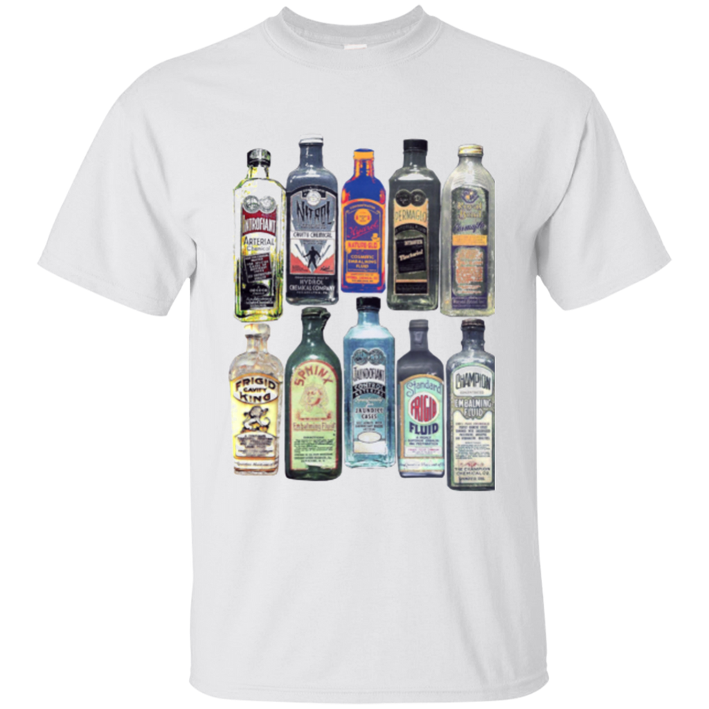 Old Fluid Bottles On White Tee