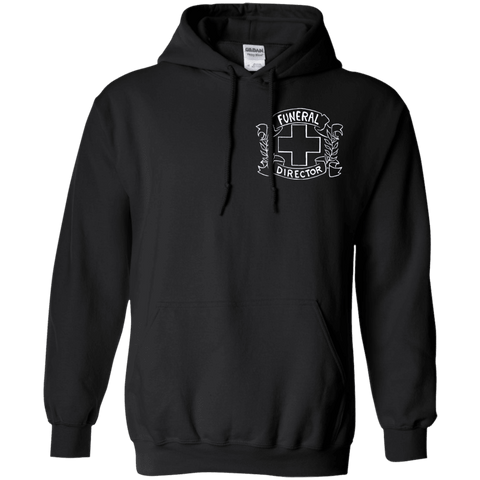 Funeral Director Black Pullover Hoodie Chest Emblem