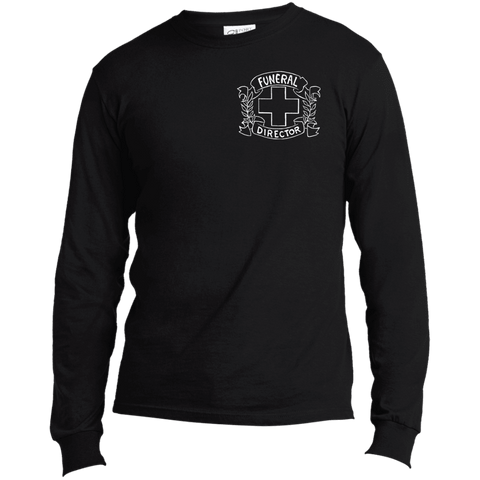 Funeral Director Black Long Sleeve Chest Emblem T Shirt