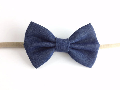 Baby Wisp Headband Denim Bow