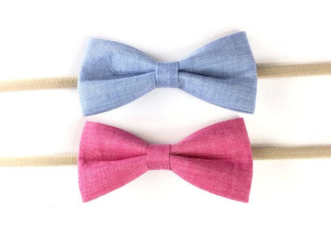 Baby Wisp Fabric Tuxedo Bow Headband Blue, Fuschia