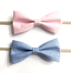 Baby Wisp Fabric Tuxedo Bow Headband Blue, Pink