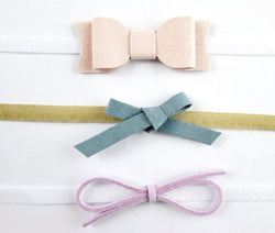Baby Wisp Headband 3 pack Mixed Bows Gift Set Pink, Blue, Lilac