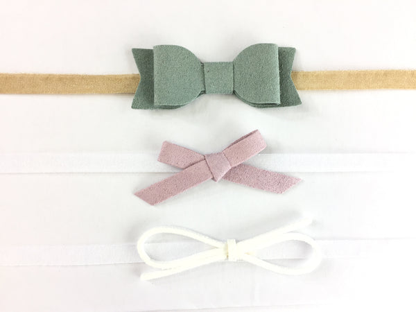 Baby Wisp Headband 3 pack Mixed Bows Gift Set White, Lilac, Green