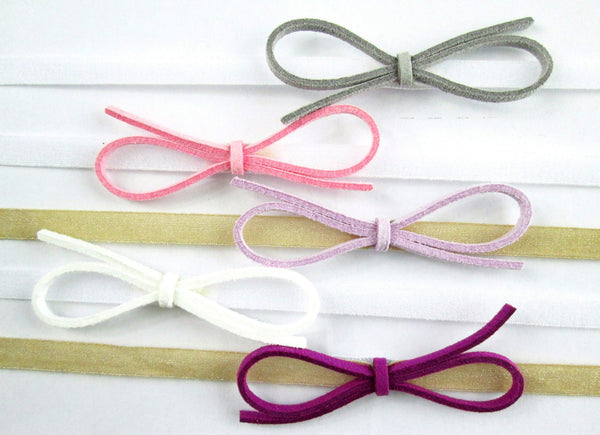 Baby Wisp Headband 5 pack Ultra Skinny Faux Suede Bows Gift Set