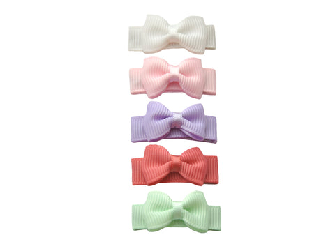Baby Wisp Small Snap Tuxedo Grosgrain 5 pc Bow Collection-Macaroon
