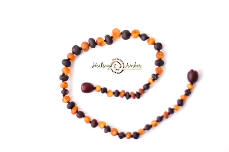 Healing Amber Necklace Raw Duo Dark (Caramel/Molasses)