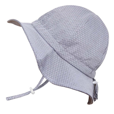 Twinklebelle Grow-With-Me Sun Hat - Grey Tiny Argyle
