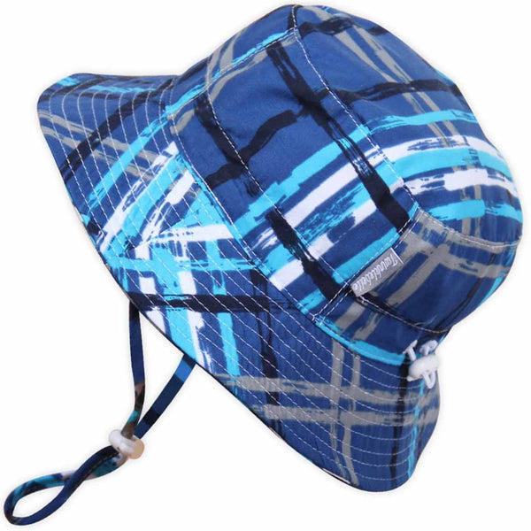 Twinklebelle Grow-With-Me Sun Hat - Blue Plaid