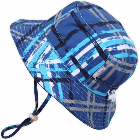 Twinkle Belle Grow-With-Me Sun Hat - Blue Plaid