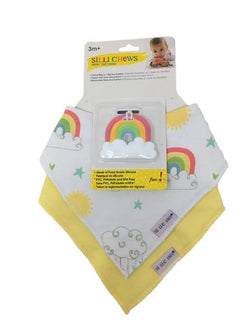Silli Rainbow Bandana Bib Set with Rainbow Teether/Strap