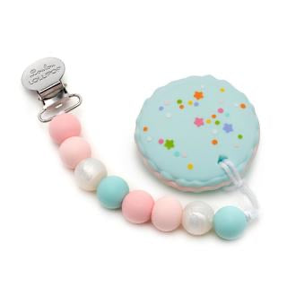 Loulou Lollipop Macaroon Silicone Teether Holder Set Pink Blue