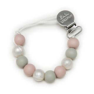 Loulou Lollipop Lolli Silicone Pacifier Clip Rose Gray