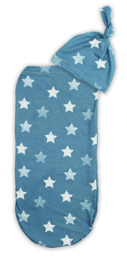 Itzy Ritzy Swaddle Cocoon and Hat Set Blue Stars