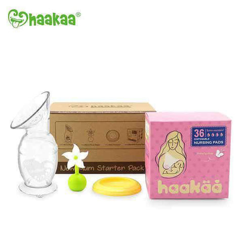 Haakaa New Mom Starter Kit Pack with White Flower Stopper and Grey Lid Silicone Breast Pump 150 ml