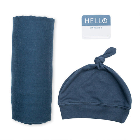 Lulujo Hello World Blanket and Knotted Hat Navy